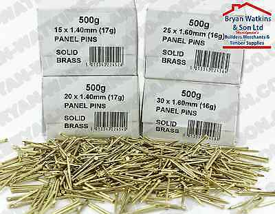 Genuine Solid Brass Panel Pins 15mm 20mm 25mm 30mm & 40mm Will Not RUST Marine