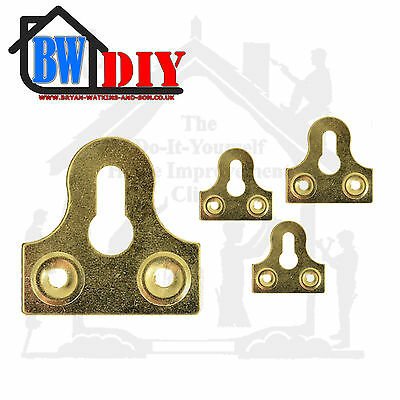 BRASS SLOTTED GLASS/MIRROR HANGING PLATE Flat Picture Frame Hanger Bracket