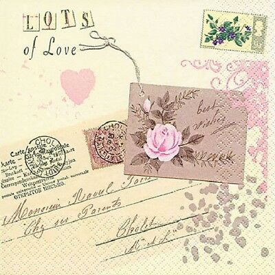 3 Paper Napkins for Decoupage / Tea Parties / Weddings - Letters of Love