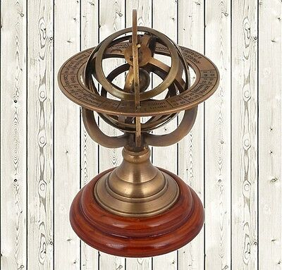 "5"" Brass Armillary Sphere World Globe Rosewood Base Table Home Decor Gift."
