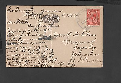 Ireland 1920 Ppc To Nebraska Usa . Eleven Lane Ends /portadown Rubber Cds