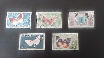 5 Madagascar Republique Malgache 1960 used butterfly stamps 0.3 0.4 0.5 1 & 3f