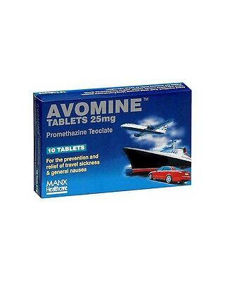 Avomine 25mg 10 Tablets - For travel sickness
