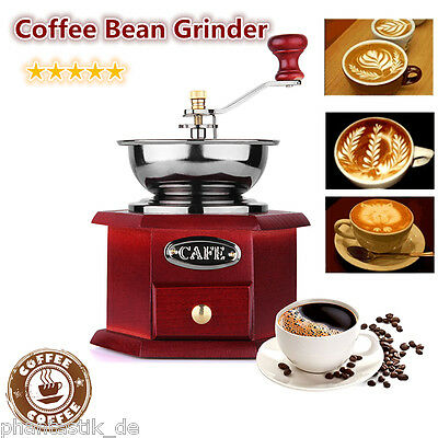 Hand Manual Coffee Bean Grinder Adjustable Grinding Burr Mill Vintage Wooden UK