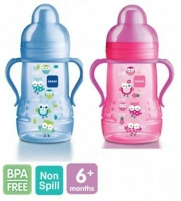 MAM Trainer Baby Training Transition Bottle Soft Spout Handles 220ml Sippy Cup