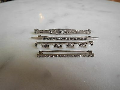 Elegant Lot of FOUR Fine Antique Signed Sterling & Paste Bar Pin Brooches