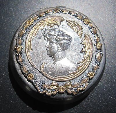 Antique french silver & gold Plated pill box Napoleon II eagle empire
