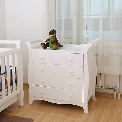Brand New White New Zealand Pine Baby Change Table 4 Chest of Drawers Tall Boy