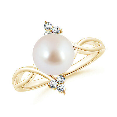 8MM Solitaire Akoya Cultured Pearl Bypass Ring with Trio Diamond 14k Yellow Gold