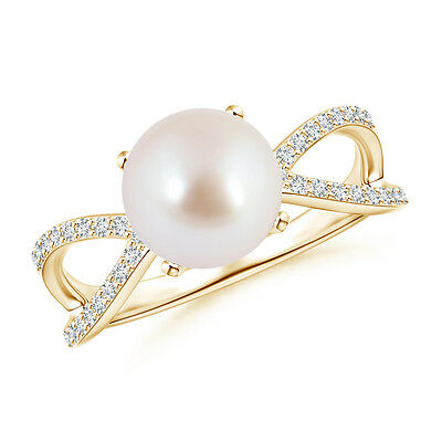 8 MM Akoya Cultured Pearl With Diamond Split Shank Ring 14K Yellow Gold/Silver