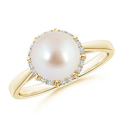 June birthstone Akoya Cultured Pearl & Diamond Halo Ring 14K Yellow Gold Size 6