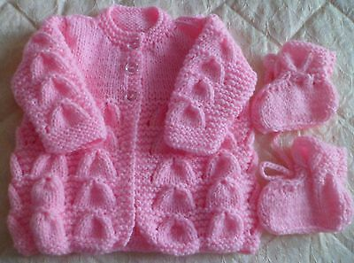 Beautiful Deep Pink Hand Knitted Baby Cardigan Newborn  With Matching  Bootees