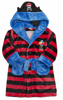 Infant Boys Jolly Roger Hooded Fleece Night Robe Dressing Gown Pirate Soft NEW