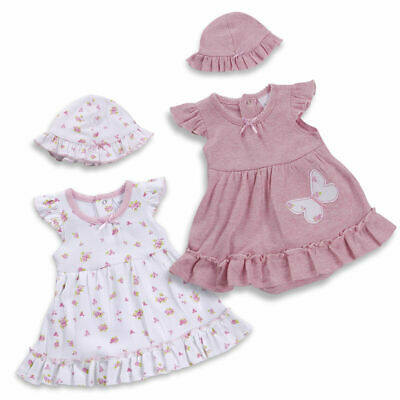 Newborn Baby Girls Body Suit Vintage Dress Occasion Outfit Clothes Set With Hat