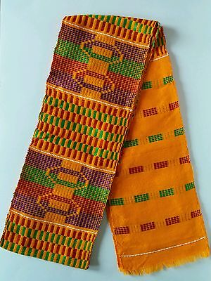 5.5x60inch Authentic African Kente Cloth Stole Scarf made in Ghana, Orange