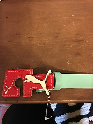 PUMA Women's Skinny Pop Fitted Belt Aqua NWT GOLF BELT Large