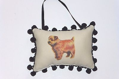 "Norfolk Terrier Plush Door Or Wall Pillow w/Black Chenille Trim, 6"" x 4"",U.S.A."