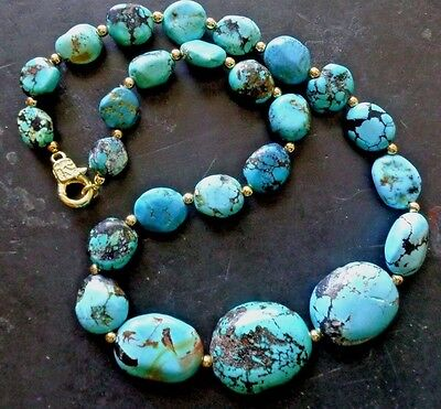 Vintage Natural Kingman Spiderweb Blue Turquoise Graduated Beads Necklace 18,5""