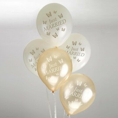 8 Just Married WEDDING BALLOONS Ivory Gold ELEGANT BUTTERFLY Helium Air Latex