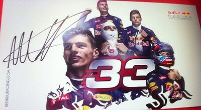 max verstappen Hand Autographed Red Bull Official Formula 1 Grand Prix Card