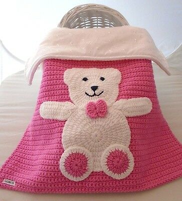 Baby Blanket Hand Crochet Knitted Pink White Teddy Moses Basket Pram Girl