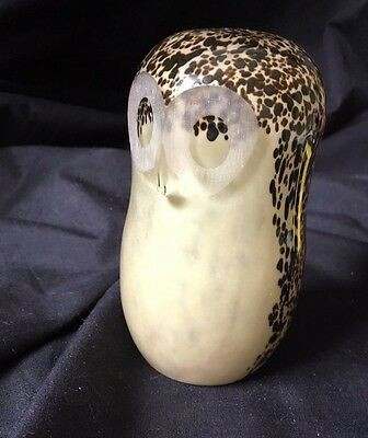 Vintage Wedgwood, Charming Glass Mottled Owl Paperweight VGC