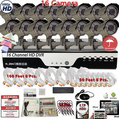 16 Channel HD Home CCTV Outdoor Security System Set/16Pcs 1080P HD Camera w 2TB