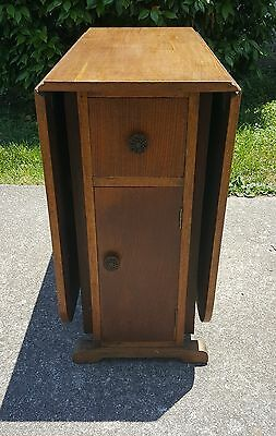 Antique Tiger Oak English Drop Leaf Gate Leg Table With 1 drawer & 2 storage  .