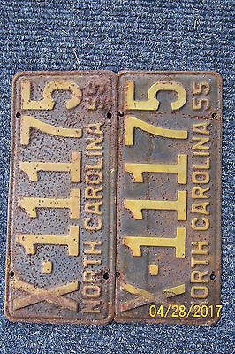 Very Rare, vintage, 1955 NC plate, pair  X-11175 Rat rod, hot rod, Ford