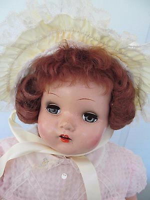 Yellow Ruffles and Lace Vintage Nylon Baby / Doll Bonnet - Excellent & So Cute!