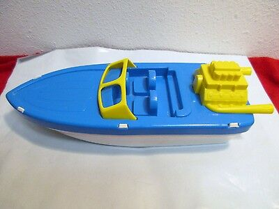 Vintage USA Processed Plastics Co. Blue Yellow Speed Boat Cruiser Ship Toy #3156