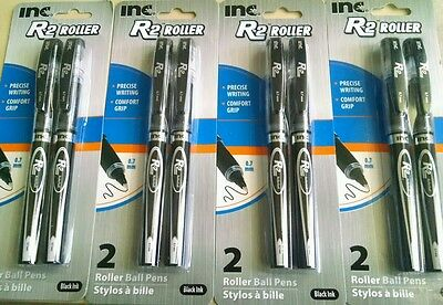 New Look! Inc R-2 Comfort-Grip Rollerball Pens 0.7mm BLACK Ink, 4 Packs of 2