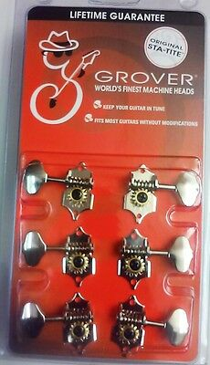 6 Grover Sta-Tite Guitar Tuners Tuning Machine Heads NICKEL Guitar Parts V97N