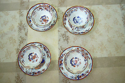 4 tasses porcelaine tendre anglaise de Minton n° 4101 Bone China 4 cups saucers