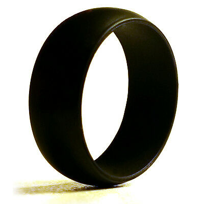 5 Pack of Men's  Black Silicone Wedding Ring Bands (Sizes 8 - 13) For Active Men