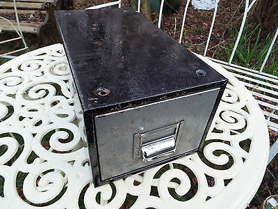 Vintage Industrial Metal Single Filing Drawer Index Card Holder Cup Handle