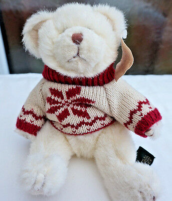 RUSS *TRADITIONAL* Teddy Bear Jointed PAST TIMES Blue White Spotty Ribbon
