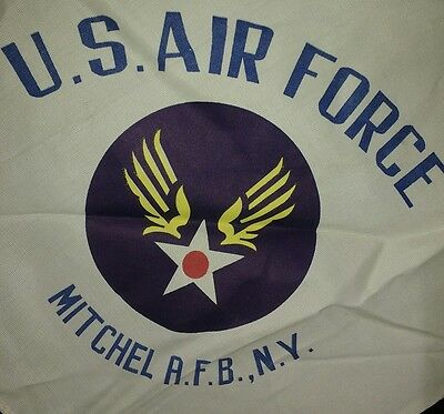 Vintage Wwii Us Air Force Sweetheart Scarf Mitchell Field Base Ny Uniondale