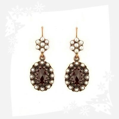 Vintage oval garnet earrings with seed pearls Victorian style | ГРАНАТ OX7LFTP7