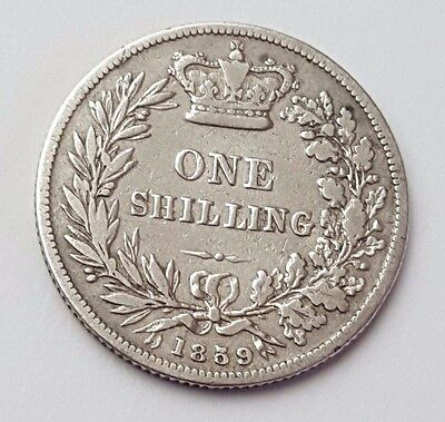 1859 - Silver - One Shilling - Great Britain - Queen Victoria - English UK Coin