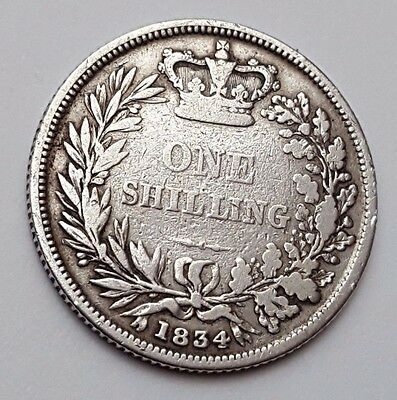 1834 - Silver - One Shilling - Great Britain - King William IIII - English Coin