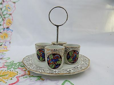 Alli - Vintage China Egg Cup Set and Serving Tray with Chrome Handle