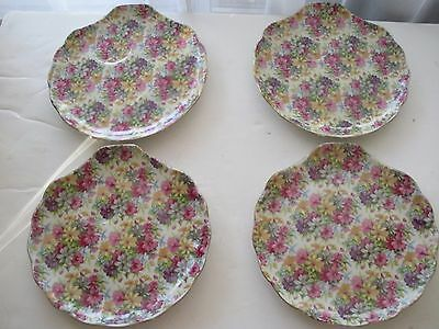 (*_*) Vintage  Set of 4 Summer Flowers Chintz Saucer Cup Plate 8""