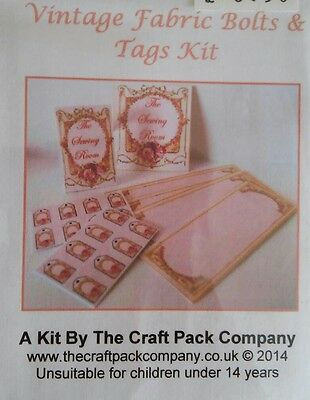1/12th Scale Vintage Style Fabric Bolts & Tags Craft Kit