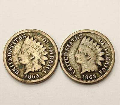 2x 1863 USA Indian Head Cents Good G6 condition 2-coins