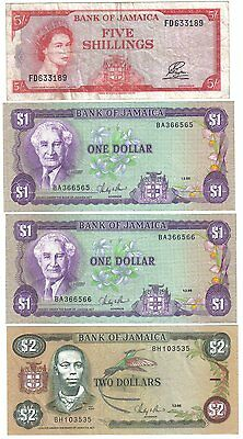 Lot of 4 Jamaican Banknotes 1960 to 1986