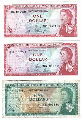 Lot of 3 Banknotes: EAST CARIBBEAN CURRENCY AUTHORITY 1965 ND 2@$1, 1@ $5