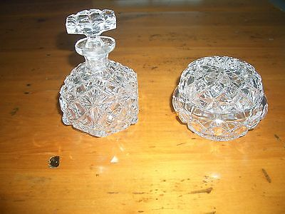Vintage Crystal Glass Diamond Cut Duchess Perfume Bottle & Jewellery Jar,