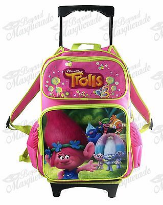 "16"" Dreamwork Trolls Poppy Rolling Backpack School Detachable Wheeled Trolley"