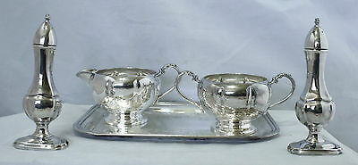 Vintage Silver Plate Serving Set - Creamer, Sugar Bowl, Tray, Shakers - Essay